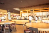 Abstract blur and defocused breakfast buffet at hotel restaurant interior for background - Vintage Filter