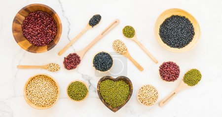 Mixed beans with kidney mung black and Soy Bean - Healthy and Nutrition food concept style