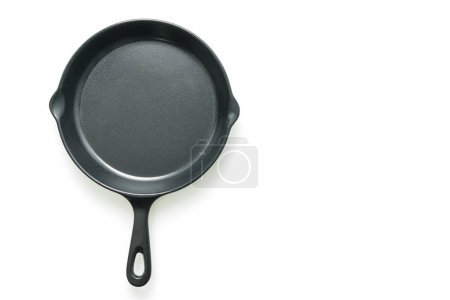 Black iron pan isolated on white background