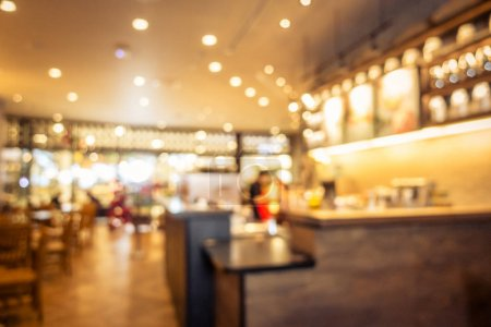Abstract blur coffee shop and restaurant interior for background - Vintage Filter