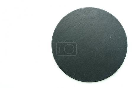Black stone slate isolated on white background