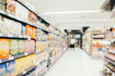 Abstract blur supermarket in shopping mall and store interior for background