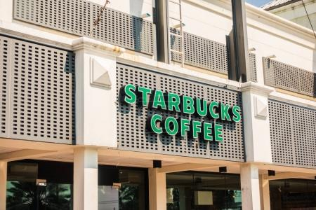 PATTAYA , THAILAND Jan 18 2018 Starbucks sign and store around m