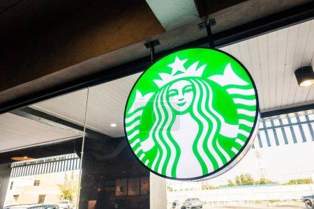 PATTAYA , THAILAND Jan 20 2018 Starbucks sign and store around m