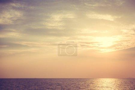 Beautiful sunset on the beach and sea