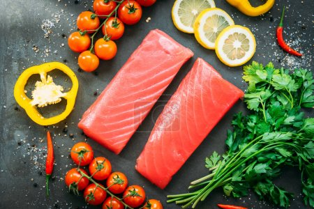 Raw tuna fish fillet meat