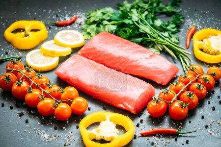 Raw tuna fish fillet meat