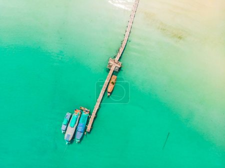 Beautiful aerial view of boat on the sea