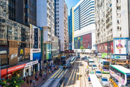 Photo for Hong kong, China - 15 Sep, 2018 : Beautiful architecture and building with a lot of people and traffic in hong kong around causeway bay area - Royalty Free Image