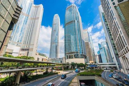 Beautiful architecture building skyscraper in hong kong city