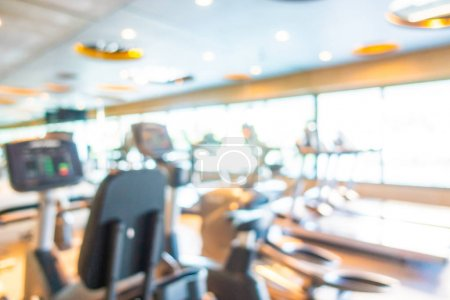 Photo for Abstract blur gym room interior with fitness equipment for background - Royalty Free Image
