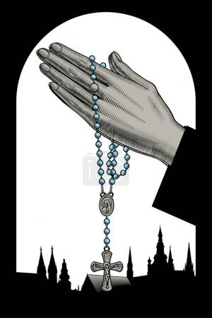 Woman's hands with prayer beads and silhouettes of catholic cath