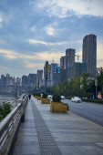 Riverside Highways and Pedestrians in Chongqing, Asia
