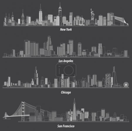 Illustration for Abstract illustrations of United States outlines city skylines - Royalty Free Image