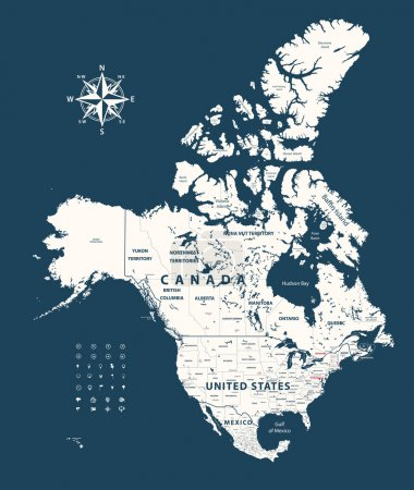 Canada, United States and Mexico vector map with states borders on dark blue background