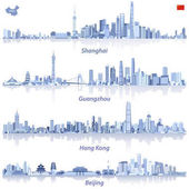 abstract illustrations of Shanghai Hong Kong Guangzhou and Beijing skylines