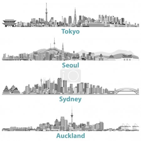 abstract vector illustrations of Tokyo, Seoul, Sydney and Auckland skylines