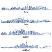 Abstract vector illustrations of Tokyo Seoul Sydney and Auckland skylines