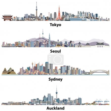 Illustration for Abstract vector illustrations of Tokyo, Seoul, Sydney and Auckland skylines - Royalty Free Image