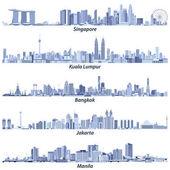 abstract vector illustrations of Singapore Kuala Lumpur Bangkok Jakarta and Manila skylines in light blue tones isolated on white background