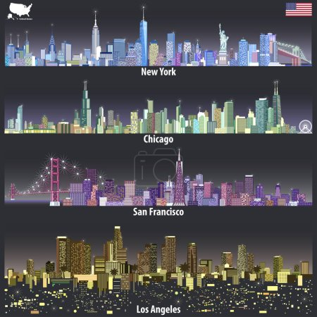 abstract vector illustrations of United States city skylines in different colorful palettes