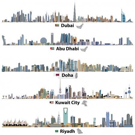 vector illustrations of Dubai, Abu Dhabi, Doha, Riyadh and Kuwait city skylines with flags and maps of United Arab Emirates, Qatar, Kuwait and Saudi Arabia