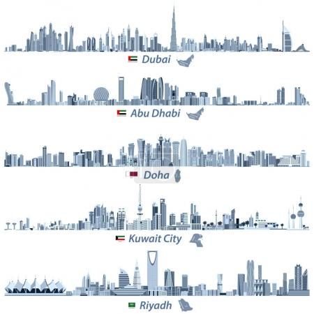 abstract vector illustrations of Dubai, Abu Dhabi, Doha, Riyadh and Kuwait city skylines in tints of blue color palette with flags and maps of United Arab Emirates, Qatar, Kuwait and Saudi Arabia