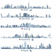 abstract vector illustrations of Dubai Abu Dhabi Doha Riyadh and Kuwait city skylines in tints of blue color palette with flags and maps of United Arab Emirates Qatar Kuwait and Saudi Arabia
