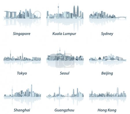 abstract vector illustrations of Singapore, Kuala Lumpur, Sydney, Tokyo, Seoul, Beijing, Shanghai, Guangzhou and Hong Kong skylines in soft blue color palette