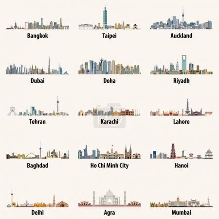 Photo pour Illustrations vectorielles abstraites de la ville asiatique skylines - image libre de droit