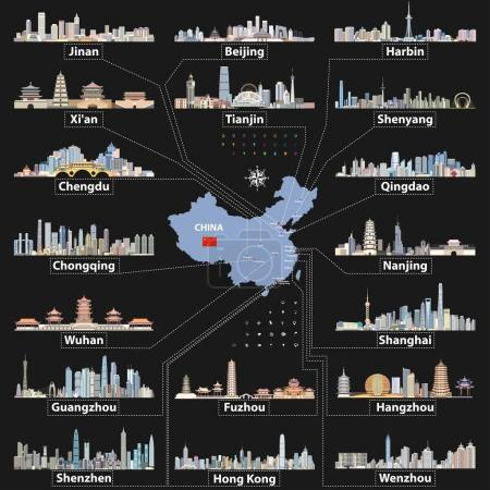 vector China map with largest chinese city skylines