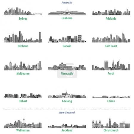 vector set of Australian and New Zealand city skylines in grey scales color palette