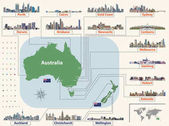 Vector map (and flags) of Australia and New Zealand with largest cities skylines Location navigation and travel icons