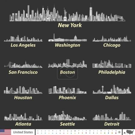Vector illustration of largest United States city skylines in black and white color palette. Navigation, location and travel icons; flag and map of United States of America