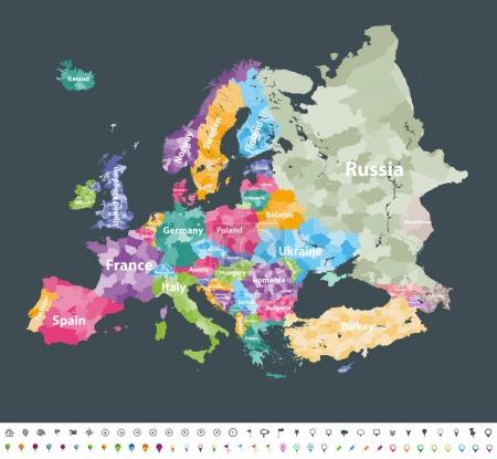 Europe map colored by countries with regions borders.  Navigation, location and travel icons collection. All elements separated in labeled and detachable layers. Vector