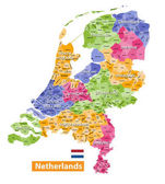 Netherlands high detailed local municipalities map colored by provinces All elements are separated in detachable and labeled layers Vector