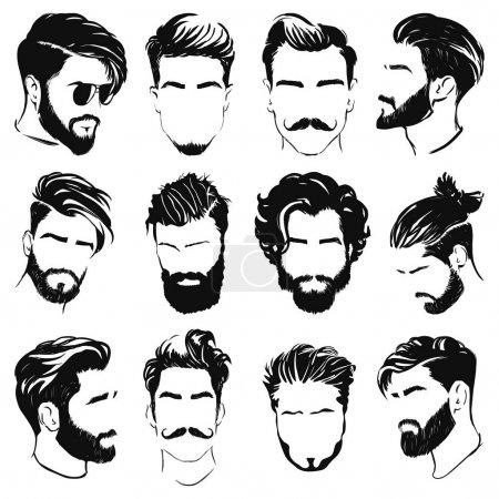 Illustration pour Illustration vectorielle de silhouettes coiffure homme - image libre de droit