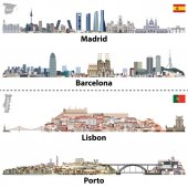 vector illustrations of Madrid Barcelona Lisbon and Porto city skylines Maps and flags of Spain and Portugal