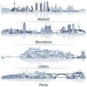 abstract vector illustration of Madrid Barcelona Lisbon and Porto city skylines in light blue color palette with water reflections