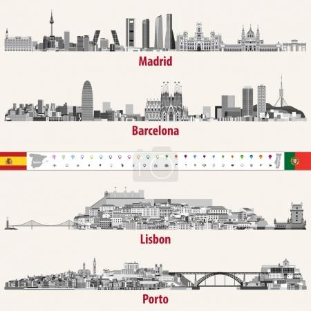 Illustration for Vector skylines of Madrid, Barcelona, Lisbon and Porto cities in grey scales color palette. Flags and maps of Spain and Portugal. Navigation and location icons. - Royalty Free Image