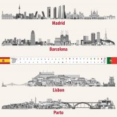 Vector skylines of Madrid Barcelona Lisbon and Porto cities in grey scales color palette Flags and maps of Spain and Portugal Navigation and location icons