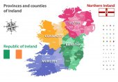 Provinces and counties of Ireland vector map