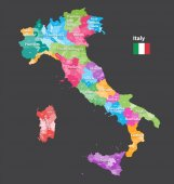 vector Italy provinces map colored by regions All layers detachable and labeled