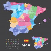 Autonomous communities and provinces vector map of Spain  Navigation location and travel icons