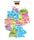 Germany states and districts colored vector map