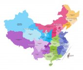 vector map of China provinces colored by regions Chinese names gives in parentheses