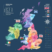 vector map of British Isles administrative divisions colored by countries and regions Districts and counties maps and flags of United KingdomNorthern Ireland Wales Scotland and Republic of Ireland