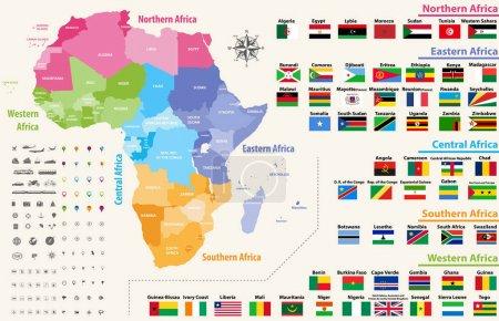 Vektorkarte des afrikanischen Kontinents eingefärbt nach Regionen. alle Flaggen afrikanischer Länder in alphabetischer Reihenfolge geordnet und nach Regionen ausgewählt