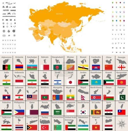 Illustration pour Carte politique de l'Asie. Localisation, icônes de navigation et de voyage. Asiatique pays cartes et drapeaux ensemble vectoriel - image libre de droit