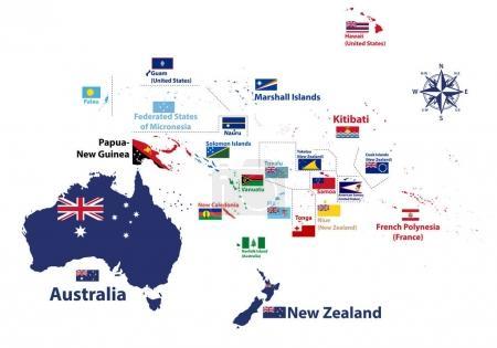 Illustration pour Carte détaillée vectorielle de l'Australie et de l'Océanie avec les noms des pays et les drapeaux nationaux - image libre de droit